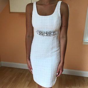 Boston Proper White Sheath Dress with Accent
